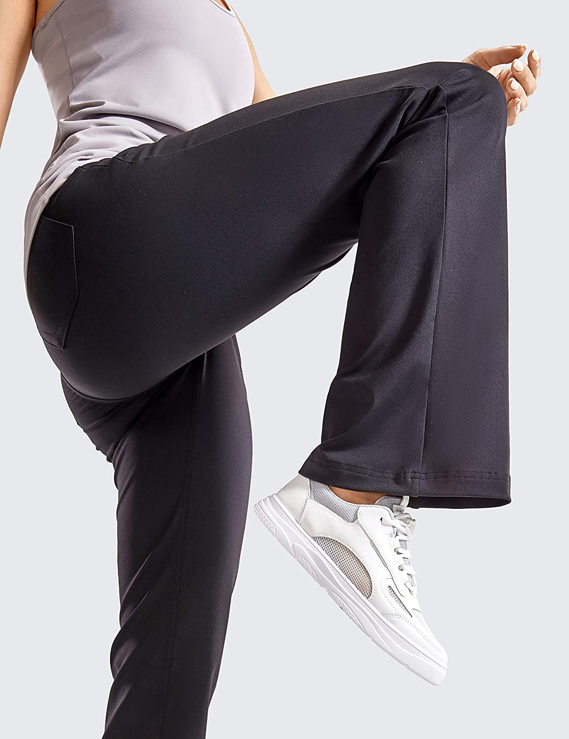 CRZ YOGA Flare Yoga Pants for Women Slim Fit Bootcut Elastic Waist Mid Rise Causal Bootleg Work Pants with Pockets