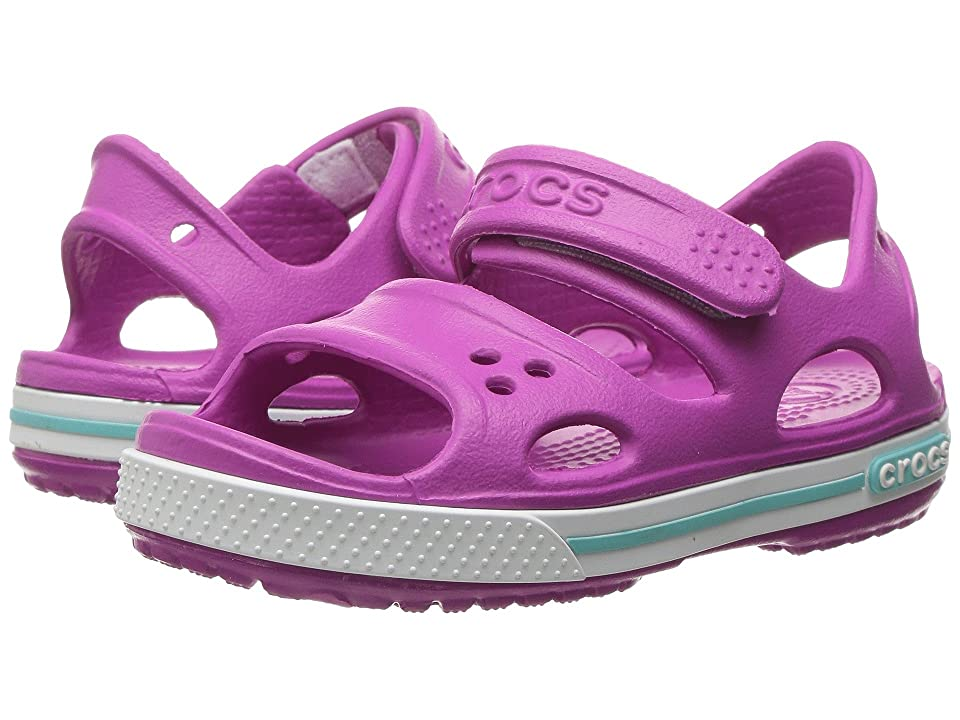 Crocs Kids Crocband II Sandal (Toddler/Little Kid) (Vibrant Violet/White) Girls Shoes