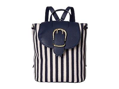 LAUREN Ralph Lauren Cornwall Striped Canvas Flap Backpack (Navy/Ivory Stripe) Backpack Bags