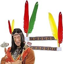 F2/Carpeta 4 Stirnbänder * INDIANER * mit Federn // tolle Verkleidung für Kindergeburtstag, Motto-Party oder Karneval // Haarband Kostüm Wilder Westen