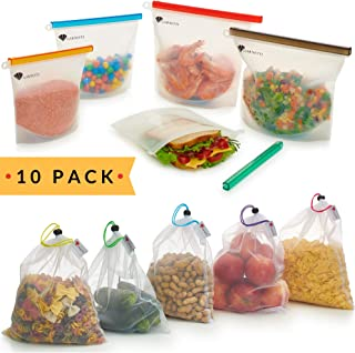 Reusable Bag Set of 10 - 5 Silicone Food Bags - 5 Produce Mesh Bags - Sandwich Silicon Bags for Freezer, Sous Vide Cooking - Eco Storage Grocery Bags for Fruits, Vegetables, Shopping by Garnetti