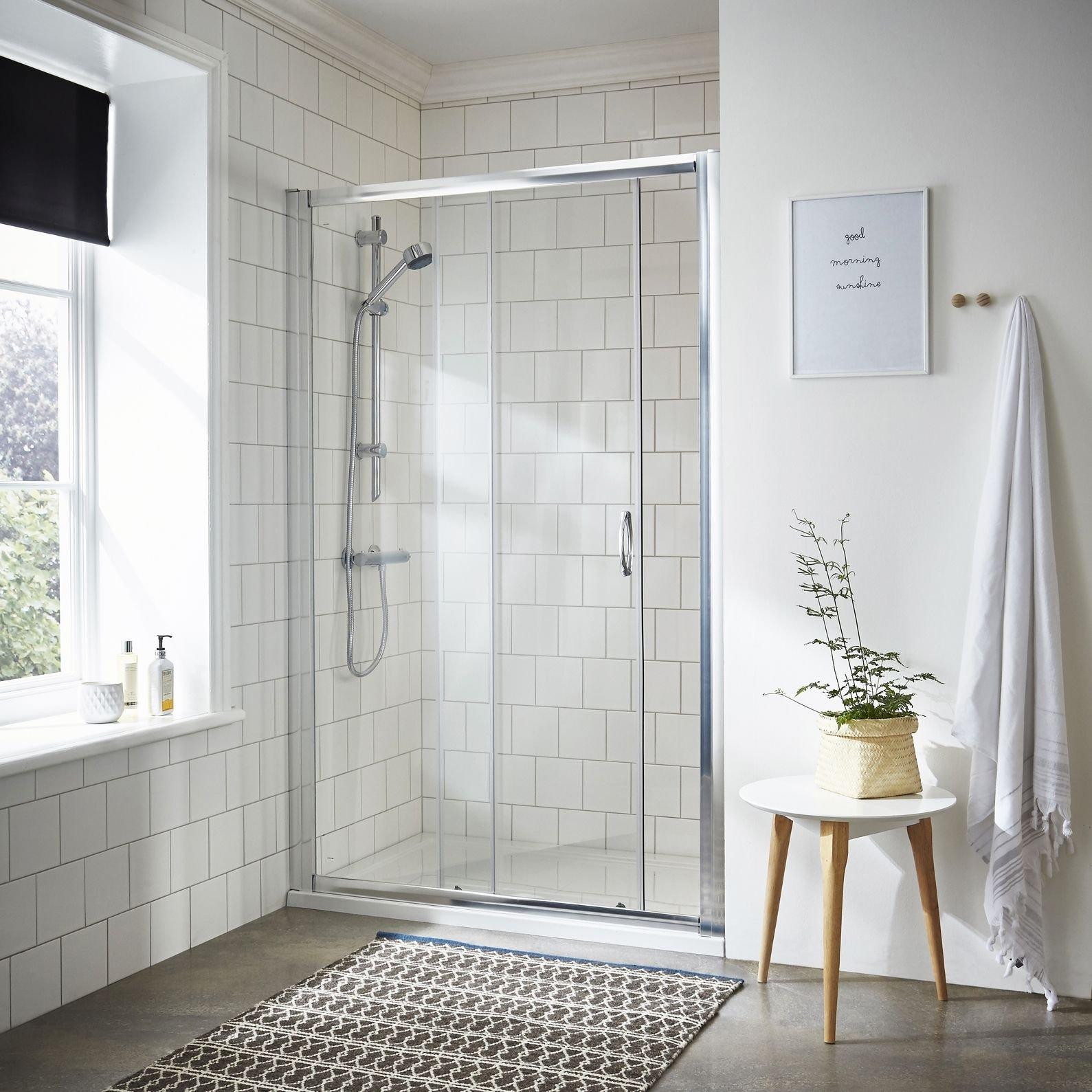 Reino Unido stock) 1200 Slider cromado ducha puerta corredera protector de cristal: Amazon.es: Hogar