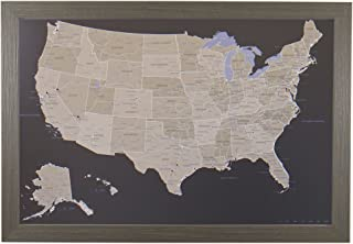 Push Pin Travel Maps Earth Toned US with Barnwood Gray Frame and Pins - 27.5 inches x 39.5 inches