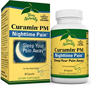 Terry Naturally Curamin PM - 60 Vegan Capsules - Non-Habit Forming Nighttime Pain Relief Supplement, Contai...