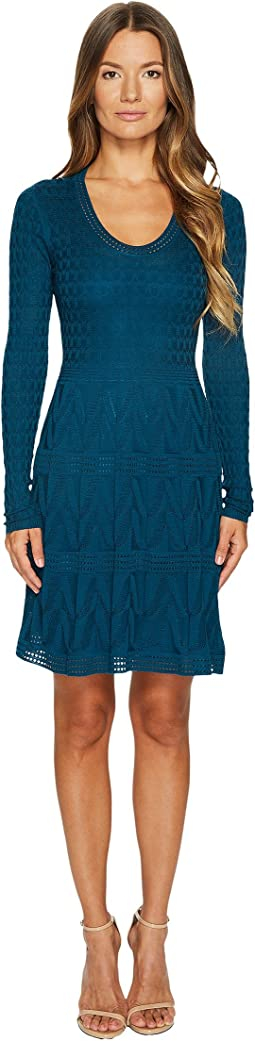 M Missoni - Solid Knit Scoop Neck Long Sleeve Dress