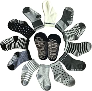 Baby 6 Pairs Assorted Non Skid Ankle Cotton Socks Baby Walker Boys Girls Toddler Anti Slip Stretch Knit Stripes Star Footsocks Sneakers Crew Socks with Grip for 1-3 Years