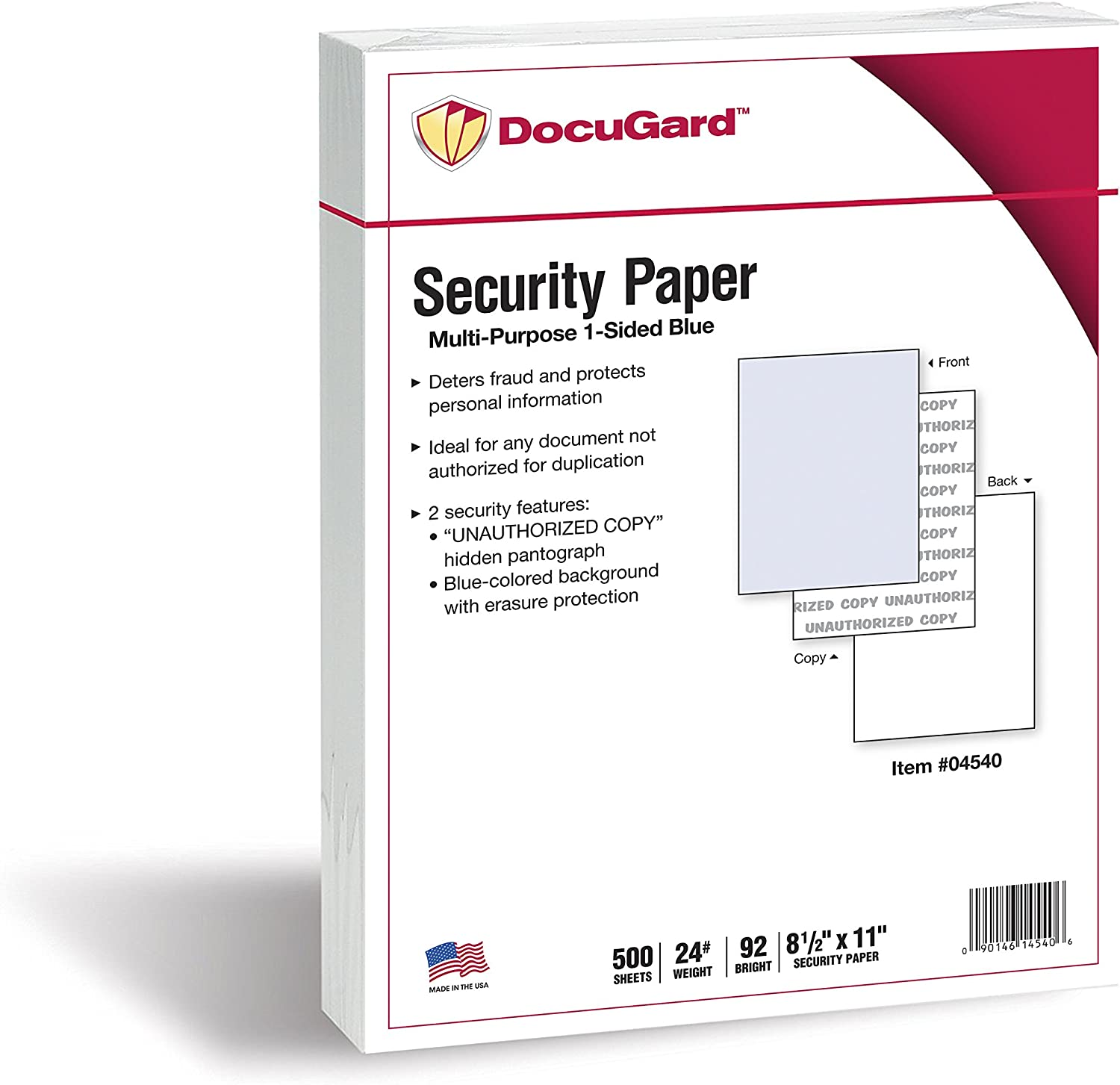 Cheap bargain DocuGard Standard All items free shipping Blue Multi-Purpose Security 2 Features Paper