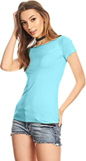 Womens Plain Tee Shirt Slim Fit Short Sleeve Casual Basic Top - Made in USA