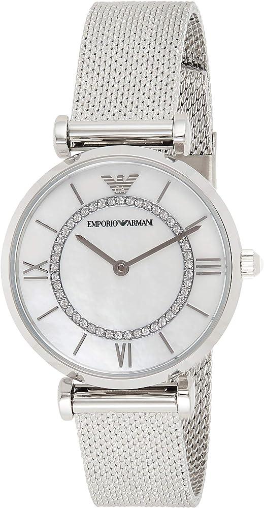 Emporio armani, orologio analogico al quarzo per donna, in acciaio e quadrande in madrperla con glitter AR11319