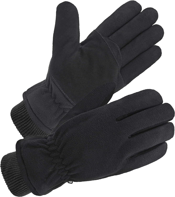 SKYDEER Windproof and Water Resistance Deerskin Suede and Polar Fleece Winter Gloves (Warm 3M Thinsulate Insulation)