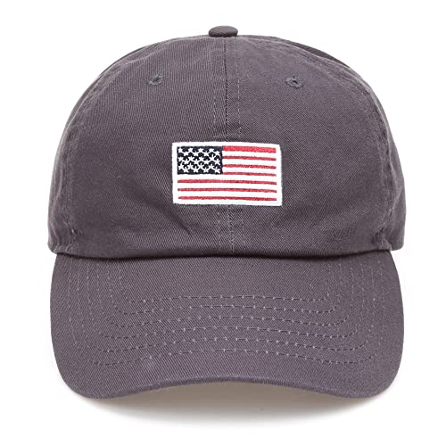5c7d9598fd415 MIRMARU USA American Flag Embroidered 100% Cotton Adjustable Strap Baseball Cap  Hat