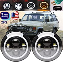7inch LED Headlights For TOYOTA LAND CRUISER FJ40 FJ45 FJ50 FJ55 FJ60 FJ62 FJ70, 120W Hi/Lo Beam DLR Headlamps Round LED Turn Signal Light With Halo Angel Eyes H4 H13 Adapter(Pack of 2)
