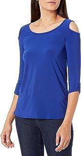 Star Vixen Women's Elbow Sleeve Keyhole Back Shirttail Hem Top