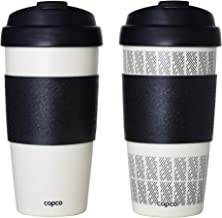 Copco 5237160 Reusable Set of 2 Insulated Double Wall Travel Mugs, 16-ounce, White/Black