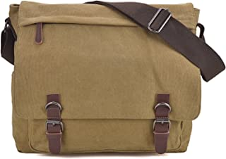 Large Vintage Canvas Messenger Shoulder Bag Crossbody Bookbag Business Bag for 15inch Laptop