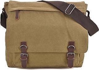 Large Vintage Canvas Messenger Shoulder Bag Crossbody Bookbag Business Bag for 15inch Laptop
