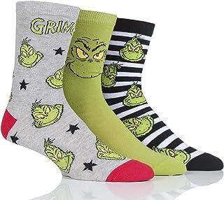 SockShop Men's and Women's Grinch Cotton Socks Pack of 3