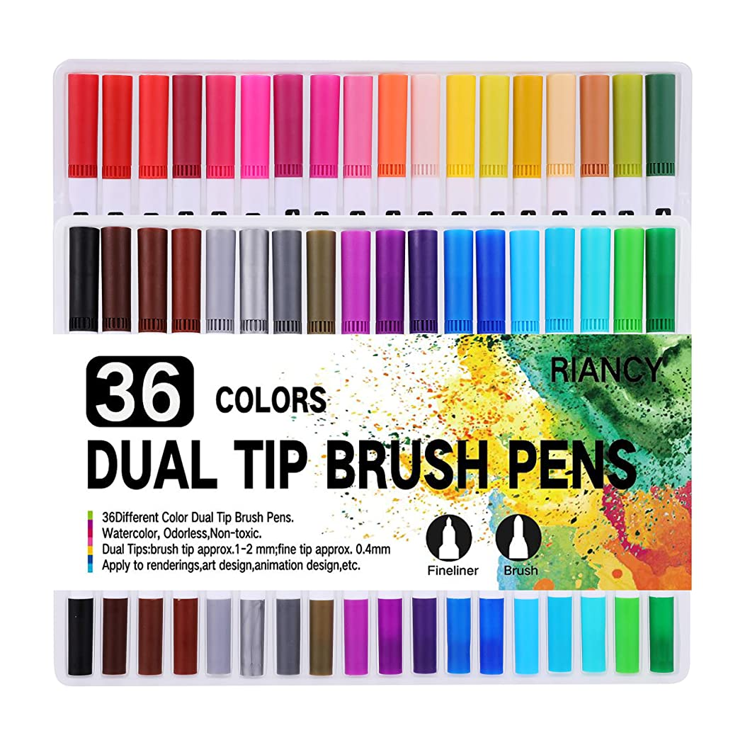 RIANCY 36 Dual Tip Brush Pens with 0.4 Fine Tip Markers, Double Colored Pens Drawing Marker Brushes for Adult Coloring Books Bullet Journal Note Taking Drawing Planner Art Project (36 Colors)