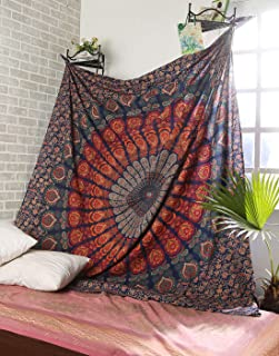 SHIRANYA Multicolor Queen Indian Mandala Tapestry Wall Hanging for Bedroom Bohemian Floral Design Cotton Bedspread Throw B...