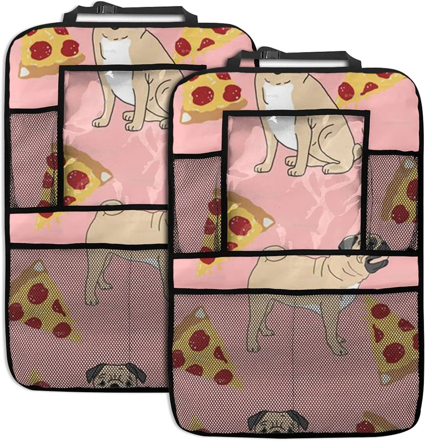 Car Backseat 70% OFF Outlet Organizer Pug Pizza Organi Print Back Pink Seat Lowest price challenge