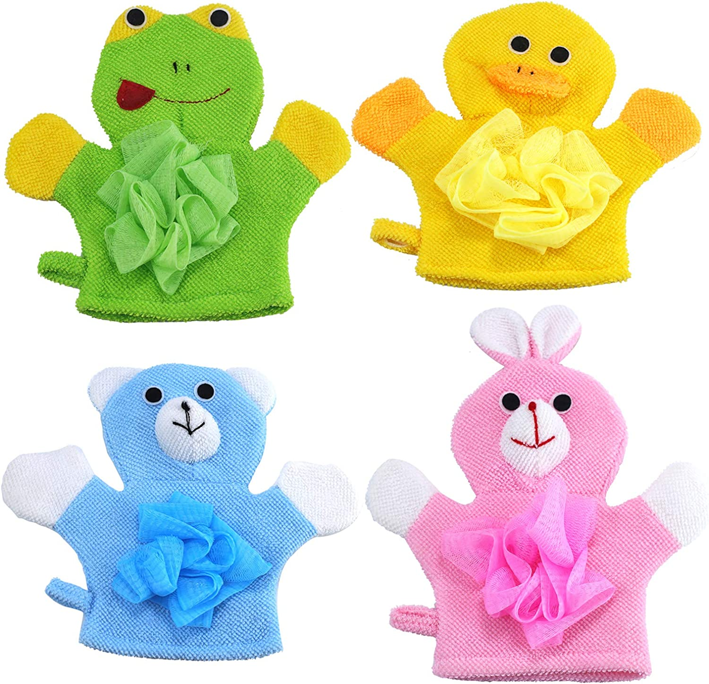 Sunormi 4Pcs Cartoon Baby Kids Bath Shower Gloves Bath Sponge Hand Puppet Bath Wash Mitt Towel with Animal Designs-Rabbit/Frog/Bear/Duck