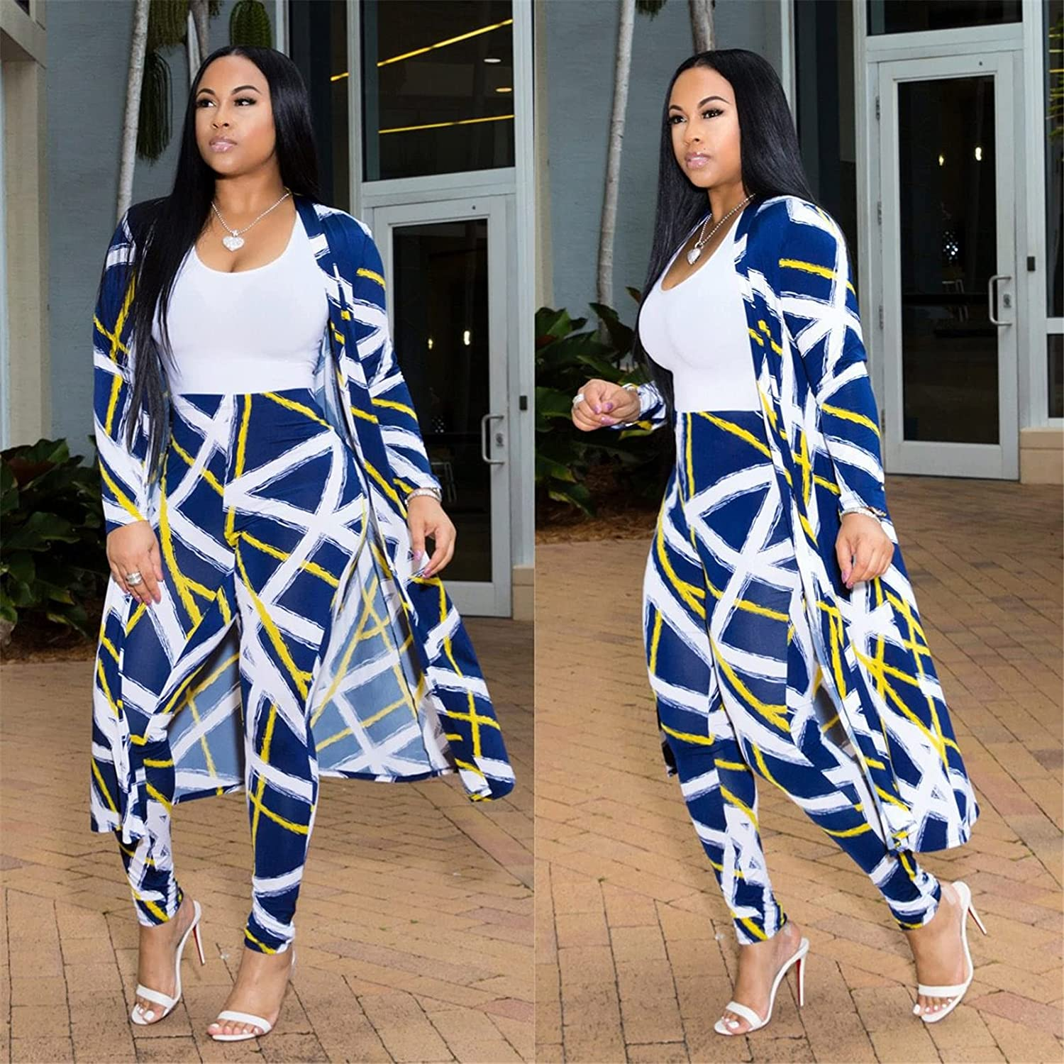 Autumn Winter Sexy Printed Two Piece Matching Sets Women Long Cardigan Tops+Pants Suits
