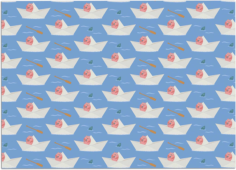 KESS InHouse CB2021ADM02 Cristina Bianco Design Paper Cat Pattern Coral bluee Dog Place Mat, 24 x15