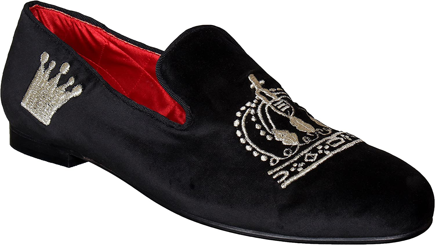 Lozano Black Velvet Slip ons Crown Embroidery Casual shoes Black