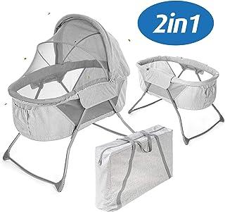 Fillikid Minicuna de viaje plegable bebé 90x40 cm   Cuna portátil con función mecedora, capota, colchón, mosquitera y bolsa de transporte - Gris
