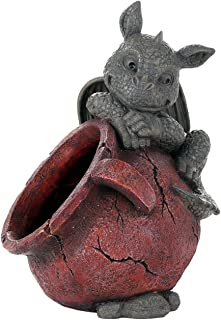 Pacific Giftware Playful Garden Dragon Planter Garden Display Decorative Accent Sculpture Stone Finish 10 Inch Tall