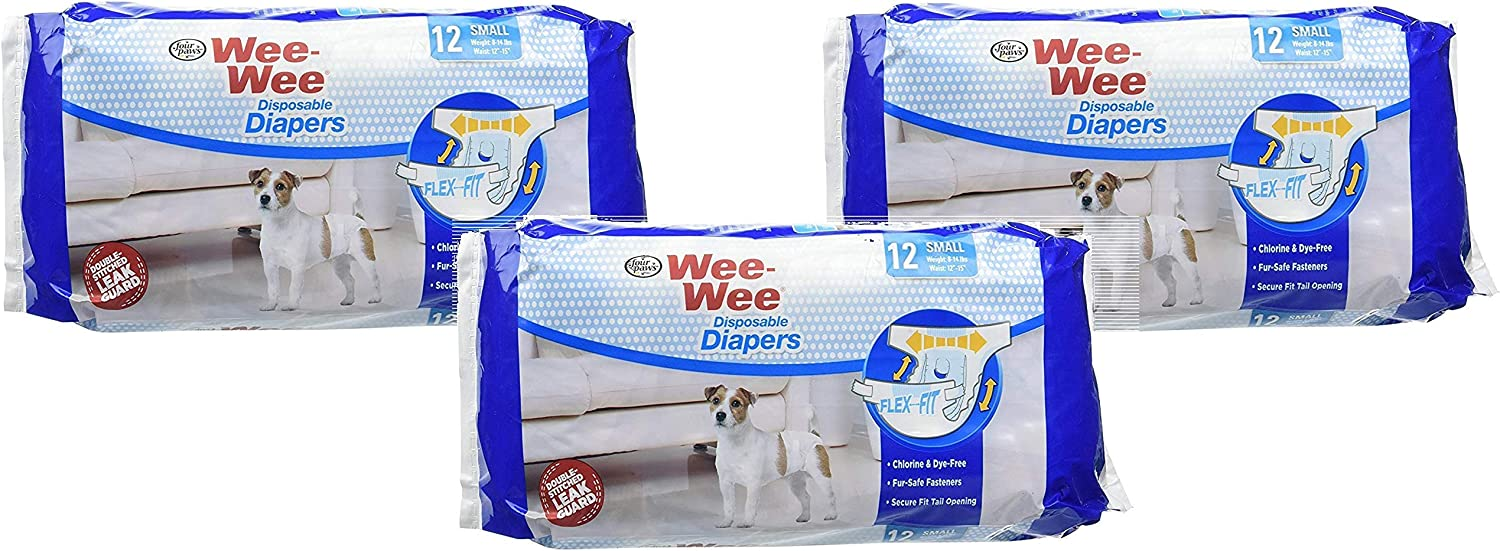 (3 Pack) WeeWee Products Disposable Dog Diapers Small