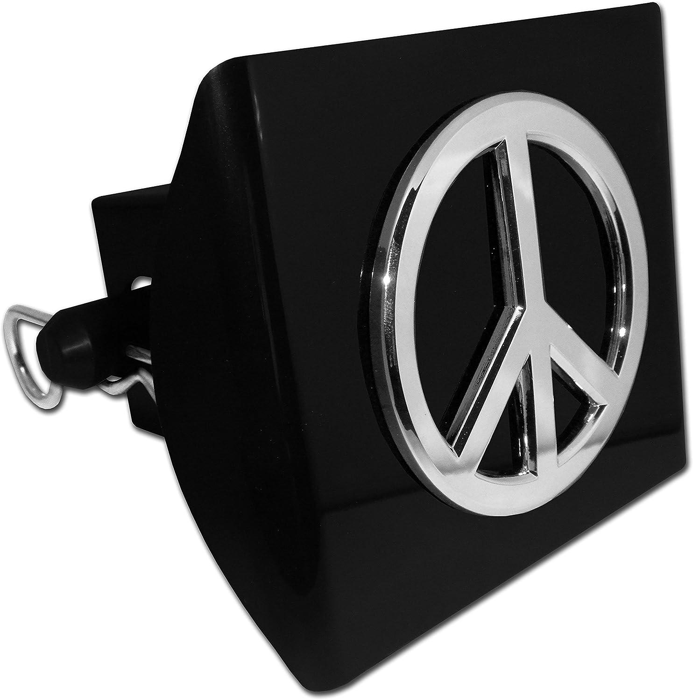 Chrome Peace Sign Black Plastic Hitch Cover