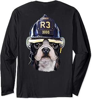 Cute French Bulldog wearing Firefighter Helmet Long Sleeve T-Shirt