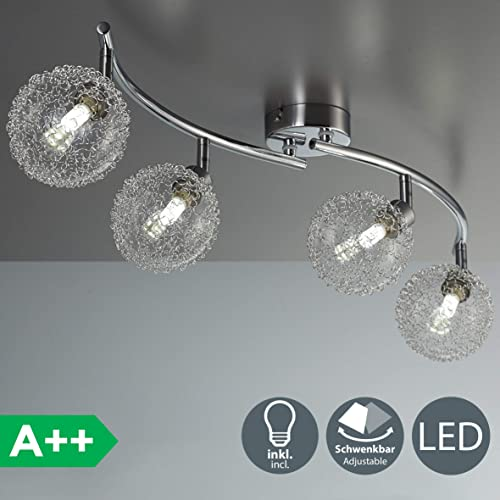 B.K. Licht plafonnier 4 spots LED orientables, boules en cristal, luminaire moderne design, éclairage intérieur blanche chaude, lampe plafond chambre salon couloir cuisine, 230V, G9, IP20, 4x3,5W