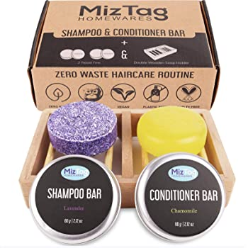 Shampoo Bar and Conditioner - Shampoo Bars for Hair - Solid & Natural Soap Bar With Zero Waste - Wooden Shampoo bar holder & Travel Tins included