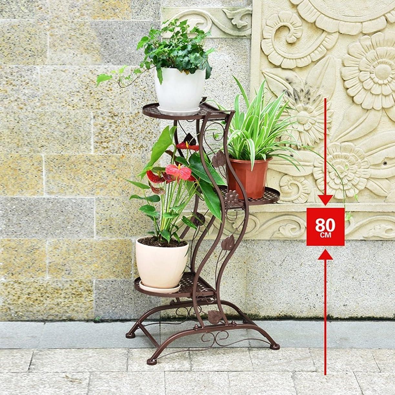 ストローク信条並外れてZX フラワースタンド 植物棚 フラワーポットシェルフ 屋内多層フラワーラック 鉄の芸術 創造性 緑の植物 バルコニー フロアスタンド 園芸ラック (色 : ブロンズ, サイズ さいず : High 80CM)