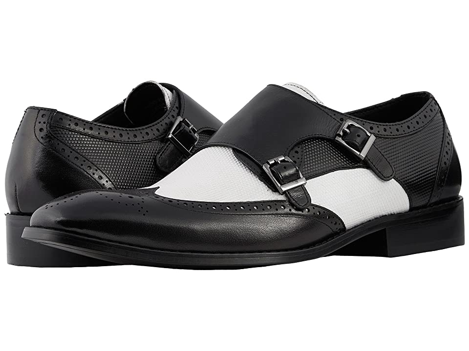 Stacy Adams Lavine Wingtip Double Monkstrap (Black/White) Men