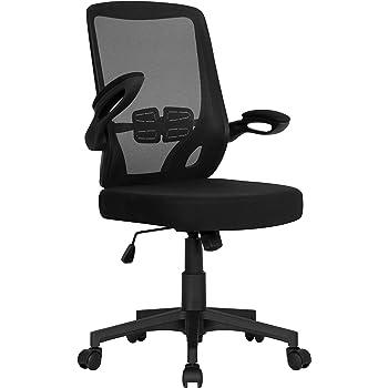 Yaheetech Chaise de Bureau Ergonomique Fauteuil de Direction en Maille Fauteuil pour Ordinateur avec Accoudoirs Pliables Dossier Inclinable Hauteur