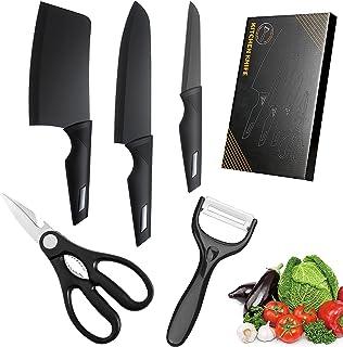 Ensembles de Couteaux de Cuisine, Lot de 5 Ustensiles de Cuisine Professionnel, Haute Force Inoxydable Acier Carbone, Revê...