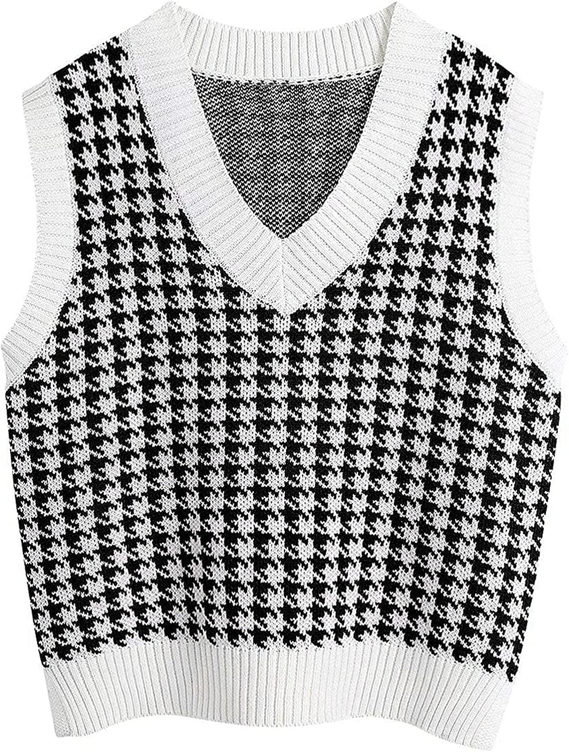 Women Casual Cute V-Neck Sweater Vest Fashion Leopard Stitching Loose Collision Color Sleeveless Comfy Warm Tunic Shirt Tops