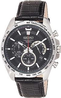 Seiko SSB305P1 Men`s Black Dial Black Leather Strap Chrono Watch