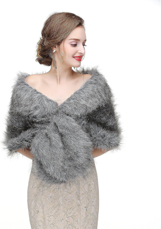 Women's Faux Fur Coat Winter Shoulder Wrap Shawl with Furry Collar