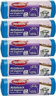 Cordón bolsas de basura–120litros (50unidades)–para el hogar y oficina, impermeable y resistente a la rotura y líquido–5Pack (5x 10unidades)–Recycle Bar–Especialmente pequeño se envía