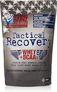 Tactical Recovery (New Formula - Protein 100% USA │ #1 Premium Whey Protein Isolate from Idaho Farms│ 5 Grams Added Plant Based BCAAs (2:1:1) │Organic Cocoa,100% Natural, Soy Free│Grass Fed Cows