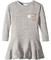 Chloe Kids - Embroidery Fleece Dress with A Pocket, Embroidered Patches (Toddler/Little Kids)