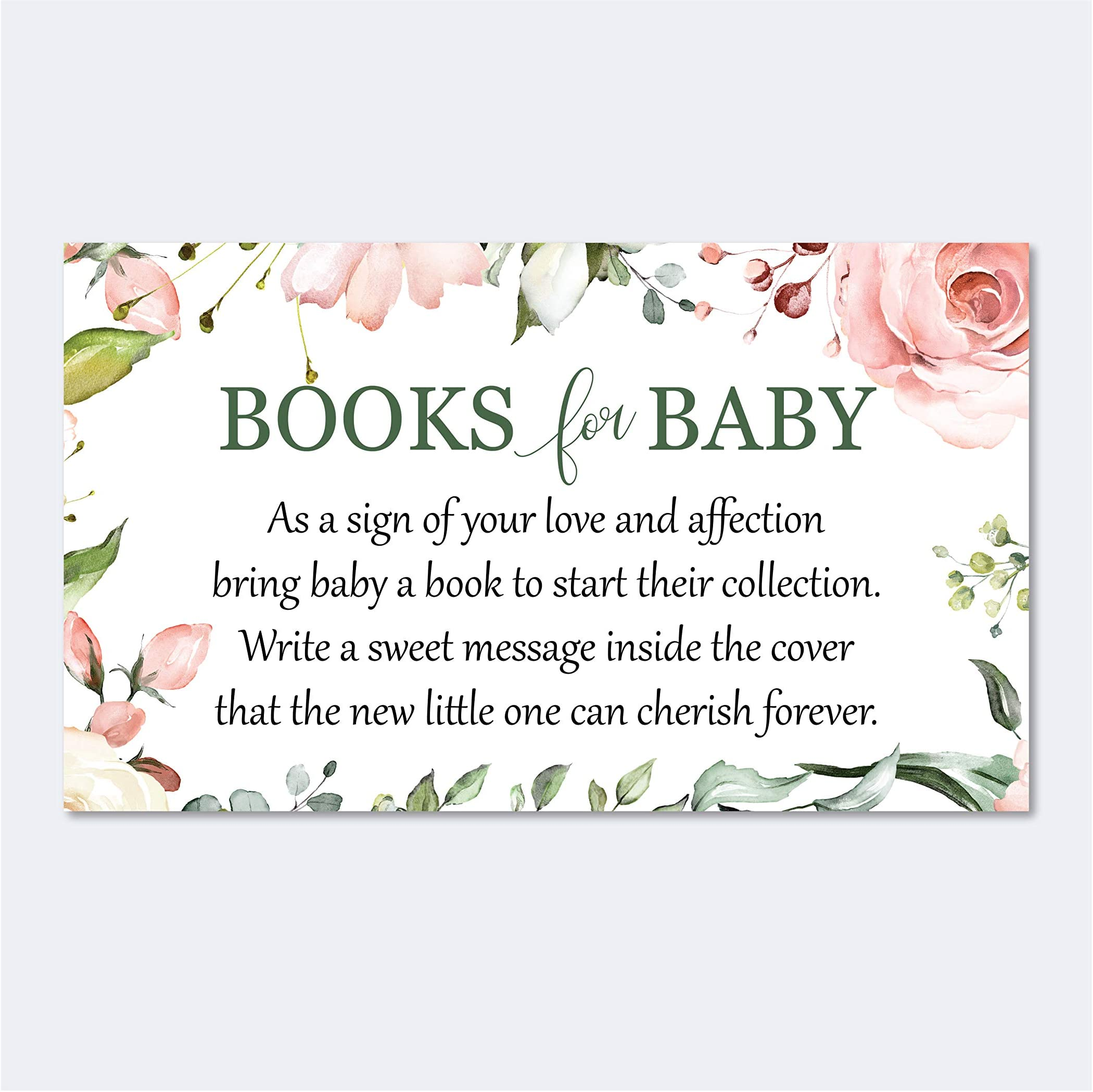 Blush and Burgundy Floral Books for Baby Enclosure Card  Book Request Cards  Registry Cards  Book Insert Cards  Details Card  LR2022