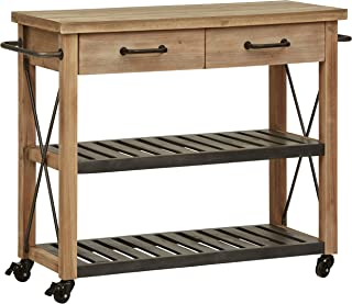 Stone & Beam Rustic Kitchen Island Butcher Block Buffet Cart with Wheels, Natural Wood Finish