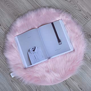 HLZHOU Faux Sheepskin Rug Soft Fluffy Chair Cover Seat Pad Home Decoration Area Rugs for Bedroom Sofa Floor (2x2 Feet (60x60cm), Pink)
