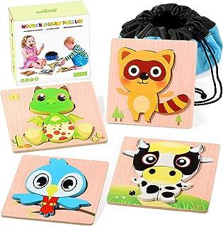 Joyjoz Infantiles Puzzles de Madera 4 PCS Puzzle Animales Juguetes Montessori con Bolso de Almacenamiento Juegos Educativo...