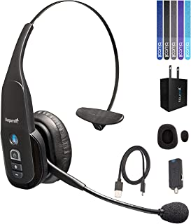 VXi BlueParrott B350-XT Bluetooth Headset with 96% Noise Cancellation Bundle with Micro USB Car Charger, Blucoil USB Wall Adapter, and 5-Pack of Reusable Cable Ties